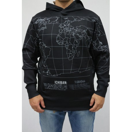 BLUZA MĘSKA ICHIBAN HOODIE IN WORLD MAP PRINT